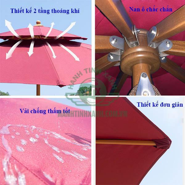 Các chi tiết thiết kế của ô dù đứng tâm