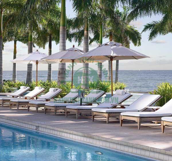 Ô chính tâm tròn được sử dụng nhiều tại hồ bơi, quán cafe, resort cao cấp,...