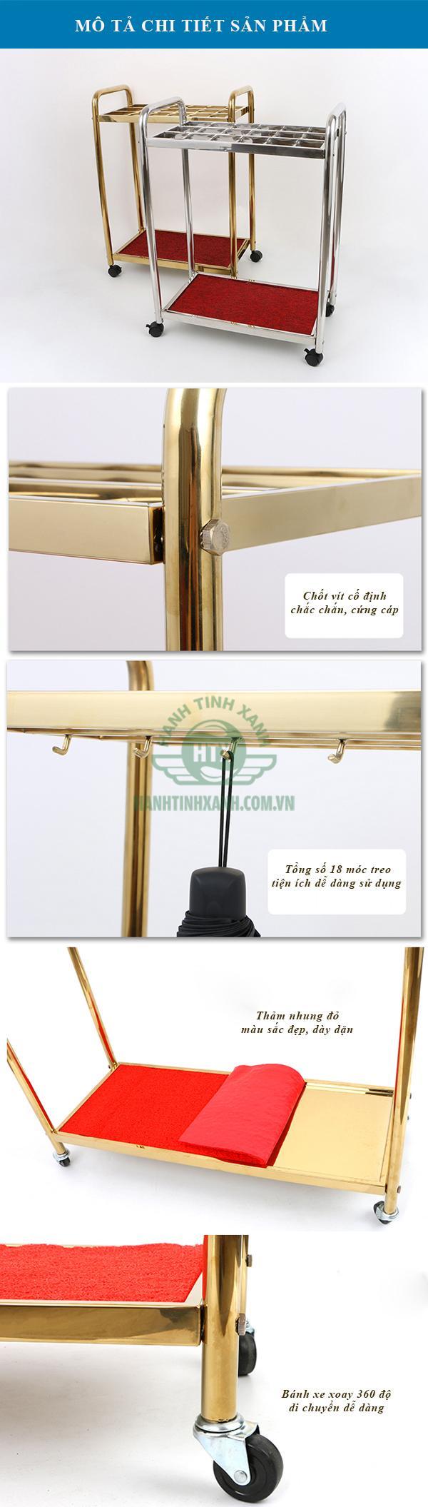 Mô tả chi tiết kệ để ô dù inox mạ vàng