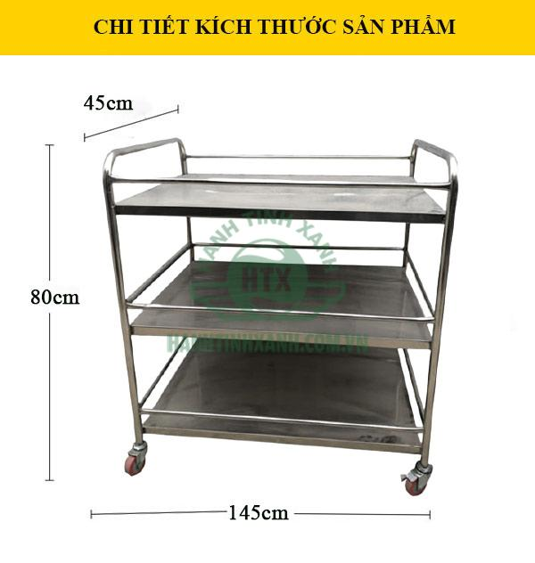 Kích thước mẫu xe đẩy phục vụ bàn bằng inox