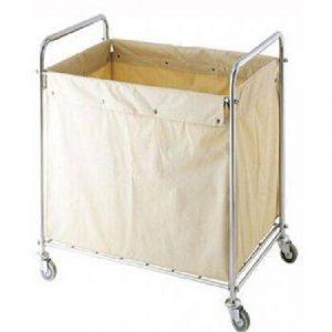 Xe giặt là khung inox túi vải bạt màu sữa