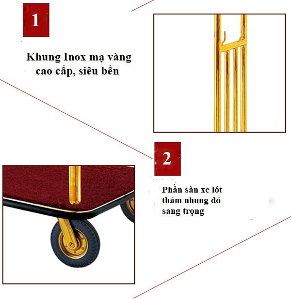 Khung xe được làm từ inox mạ vàng chắc chắn và sang trọng