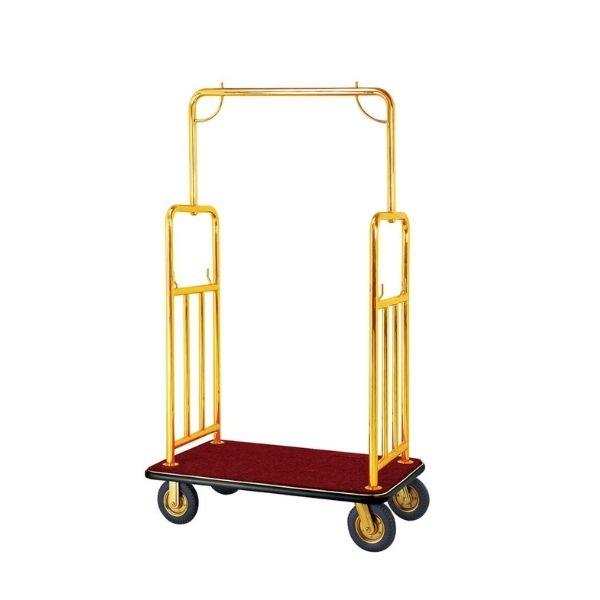 Xe đẩy hành lý inox vàng lót thảm nhung