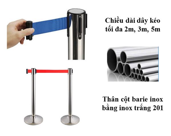Cột chắn inox dây kéo chất lượng cao