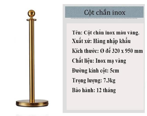 Thông tin sản phẩm cột chắn mạ vàng