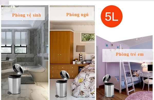 Thùng rác inox 5L thích hợp sử dụng trong mọi không gian
