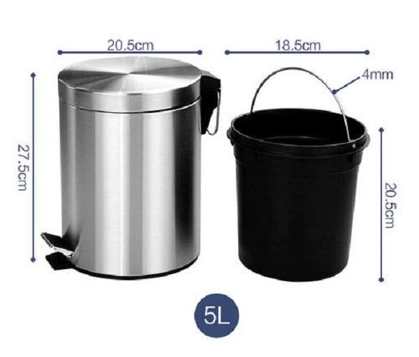 Kích thước thùng rác inox 5l