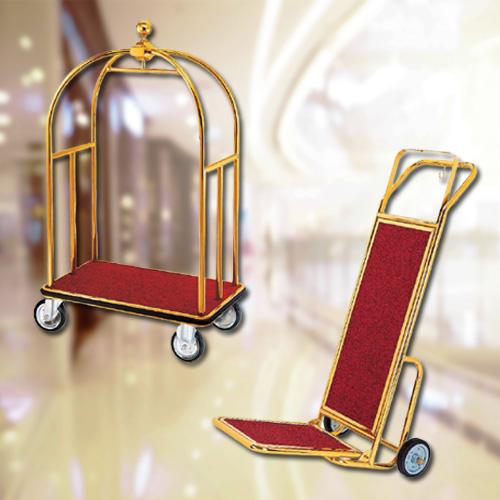 Xe đẩy hành lý khách sạn loại 2 bánh 4 bánh bằng inox mạ vàng